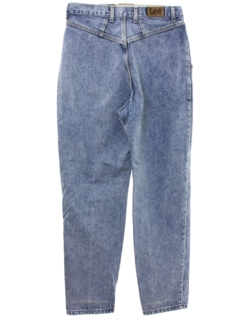 1980's Womens Lee Highwaisted Acid Washed Denim Jeans Pants