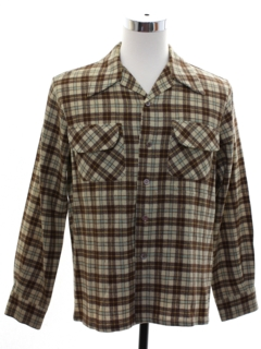 1960's Mens Wool Flannel Board Shirt