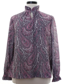 1980's Womens Paisley Secretary Shirt