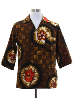 1960's Mens Mod Barkcloth Hawaiian Shirt