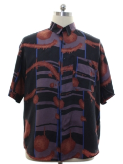 1980's Mens Gooch Totally 80s Silk Graphic Print Shirt