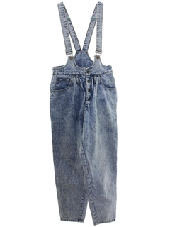 1980's Womens Totally 80s Acid Washed Highwaisted Overalls Denim Jeans Pants