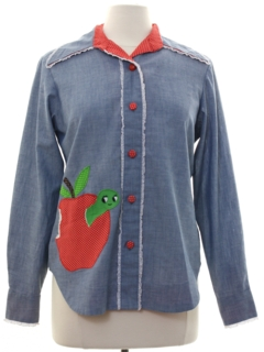 1970's Womens Chambray Folk Art Shirt