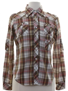 1980's Womens Plaid Safari Style Shirt