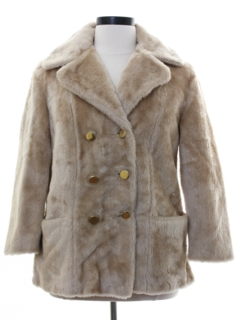 1970's Womens Mod Faux Fur Coat Jacket