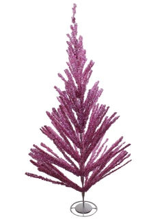 1960's Accessories - Six Foot Pink Tinsel Christmas Tree