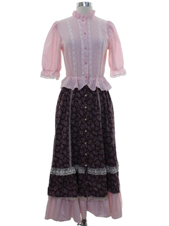 1980's Womens Gunne Sax Hippie Prairie Dress