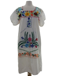 1970's Womens Embroidered Hippie Dress