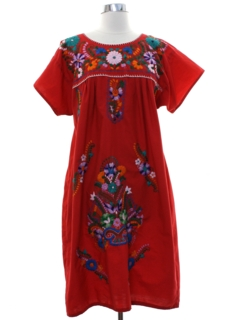 1980's Womens Embroidered Huipil Style Dress