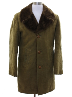 1970's Mens Mod Faux Suede Car Coat Jacket
