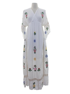 1970's Womens Fillyboo Embroidered Hippie Dress