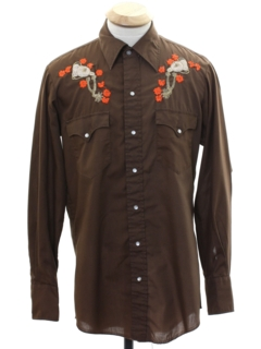1970's Mens Embroidered Hippie Rodeo Style Western Shirt