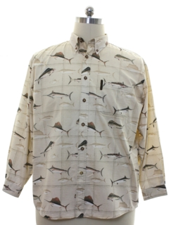 1990's Mens Graphic Print Sailfish Sport Shirt
