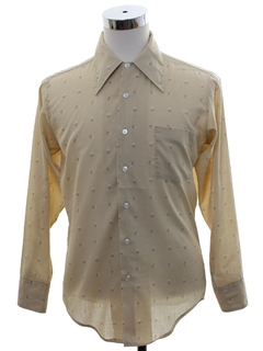 1970's Mens Subtle Print Cotton Blend Disco Style Shirt