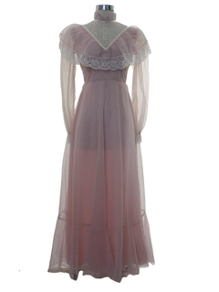 1970's Womens or Girls Prom or Cocktail Maxi Prairie Dress