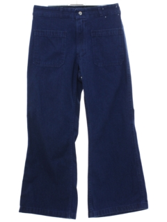 1970's Unisex Navy Style Bellbottom Jeans Pants