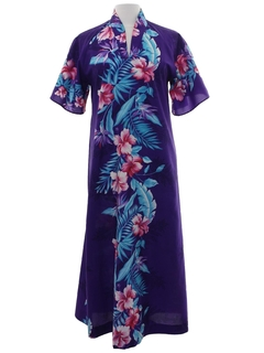 1970's Womens A-line Hawaiian Inspired Maxi Dress