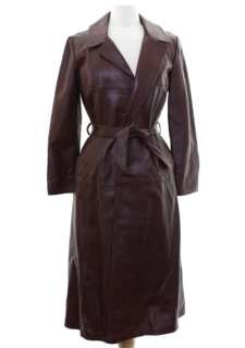 1970's Womens Mod Leather Trench Coat Overcoat Jacket
