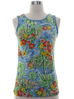1970's Womens Hawaiian Inspired Tank Top T-Shirt