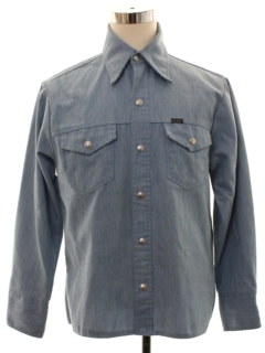 1970's Mens Big Yank Chambray Western Work Style Shirt Jacket