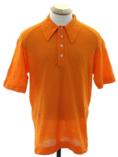 1970's Mens Mod Knit Polo Style Shirt