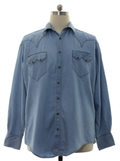 1980's Mens Rodeo Style Chambray Western Shirt