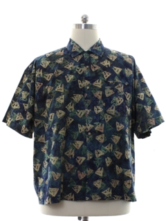 1990's Mens Graphic Print Sport Shirt