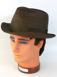 1960's Mens Accessories - Milan Straw Fedora Hat