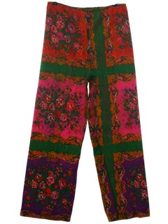 1970's Womens Mod Hippie Pow-Flower Pants
