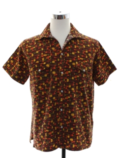 1980's Mens Graphic Print Western Style Sport Shirt