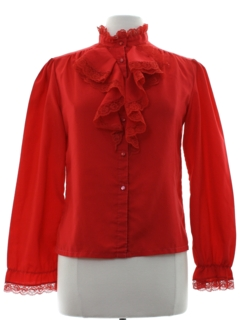 1980's Womens Ruffled Secretary Shirt