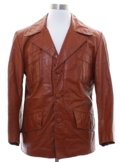 1970's Mens Mod Fight Club Style Leather Jacket