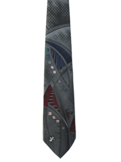 1980's Mens Designer Abstract Wide Necktie