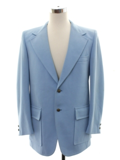1970's Mens Baby Blue Disco Blazer Sport Coat Jacket