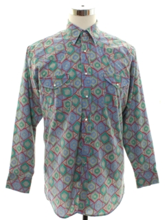 1980's Mens Totally 80s Look Geometric Print Western Shirt