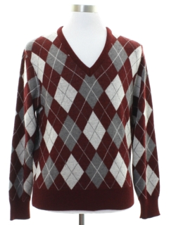 1980's Mens Preppy Argyle Sweater