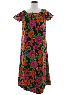 1960's Womens Pow Flower A-Line Hippie Dress