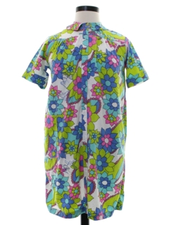 1960's Womens Mod Pow Flower A-Line Lounge Dress