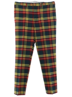 1970's Mens Plaid Flat Front Golf Style Pants