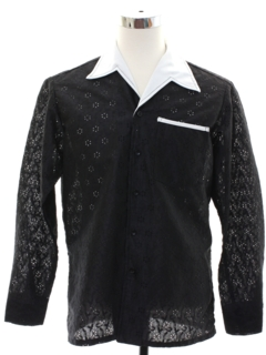 1970's Mens Mod Solid Disco Style Sport Shirt