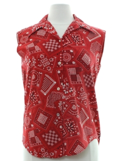 1960's Womens Patchwork Print Shirt