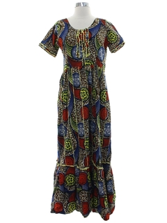 1970's Womens Ethnic African Style Print Dress