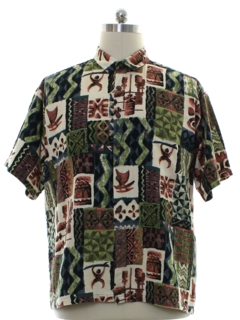 1960's Mens Tiki Print Hawaiian Shirt