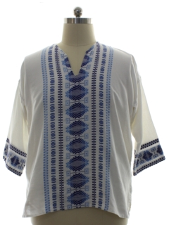 1970's Mens Hippie Embroidered Tunic Shirt