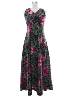 1970's Womens Hawaiian Inspired Maxi Dress