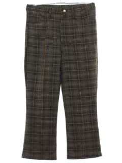 1970's Mens Plaid Jeans-cut Flared Pants
