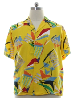 1980's Mens Rayon Totally 80s Style Graphic Print Sport Shirt