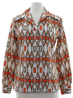 1970's Womens Op Art Print Disco Shirt