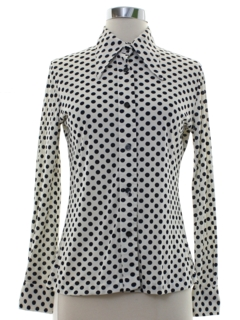 1970's Womens Polka Dot Print Disco Shirt