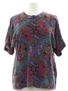 1980's Womens Totally 80s Rayon Shirt